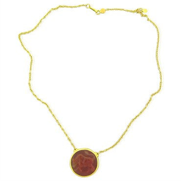 image of New Gurhan 24K Yellow Gold Carnelian Taurus Zodiac Pendant Necklace