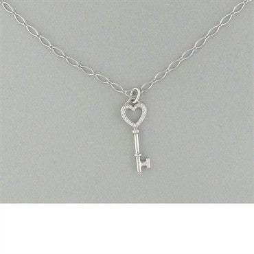 image of Tiffany & Co Heart Key Pendant Diamond Necklace