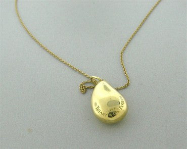 image of Estate Tiffany & Co Elsa Peretti Teardrop 18K Yellow Gold Necklace