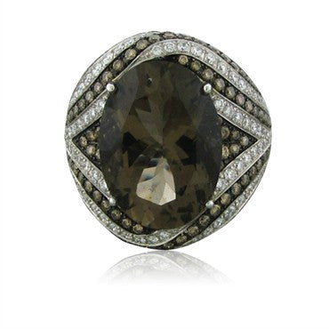 thumbnail image of New Asprey 18K White Gold Diamond Smokey Topaz Cocktail Ring