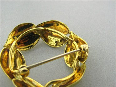 image of Vintage Tiffany & Co 18K Yellow Gold Leaf Brooch Pin