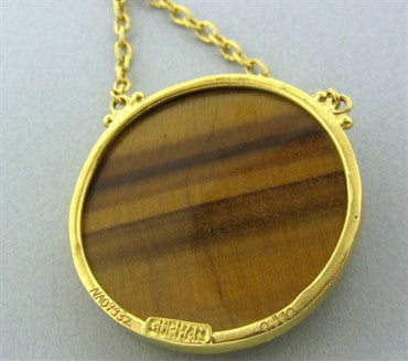 image of New Gurhan 24K Yellow Gold Tiger Eye Scorpio Zodiac Pendant Necklace