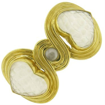 thumbnail image of Gucci Frosted Crystal 18k Gold Heart Cuff Bracelet