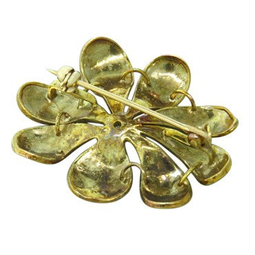 image of Art Nouveau Gold Pansy Enamel Diamond Brooch Pin