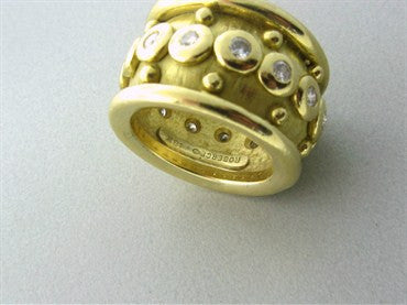 image of Roberge 18K Yellow Gold Diamond Wide Band Ring