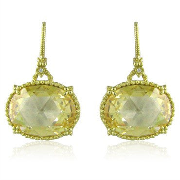 image of Large Judith Ripka 18K Gold Diamond Canary Crystal Earrings