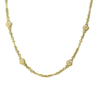 image of Judith Ripka 18K Gold Diamond Heart Chain Necklace