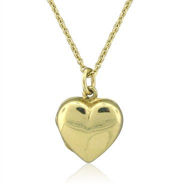 image of Vintage Tiffany & Co 14K Yellow Gold Heart Locket Pendant Necklace