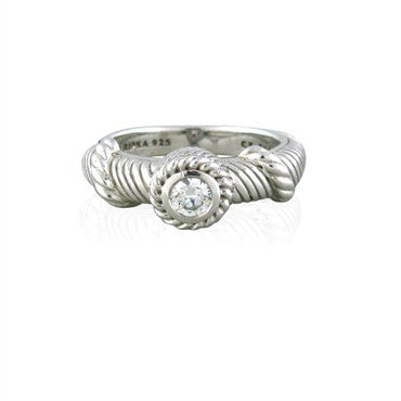 image of Estate Judith Ripka Sterling Silver Cubic Zirconia Ring