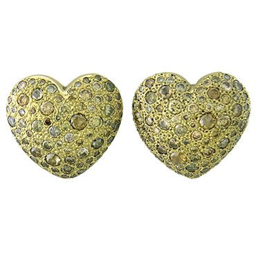 image of New Pomellato Sabbia 18k Gold 4.22ctw Fancy Diamond Heart Earrings