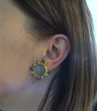 thumbnail image of Elizabeth Locke Carved Grey Moonstone Pearl Gold Moon Face Earrings