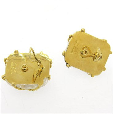 thumbnail image of Seaman Schepps 18k Gold Crystal Cage Earrings