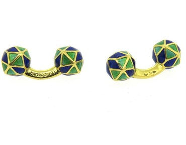 image of Longchamp 18k Gold Blue and Green Enamel Cufflinks