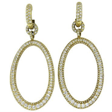 thumbnail image of Modern 6.00ctw Diamond Gold Open Circle Drop Earrings