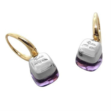 image of New Pomellato Nudo 18k Gold Amethyst Hoop Earrings