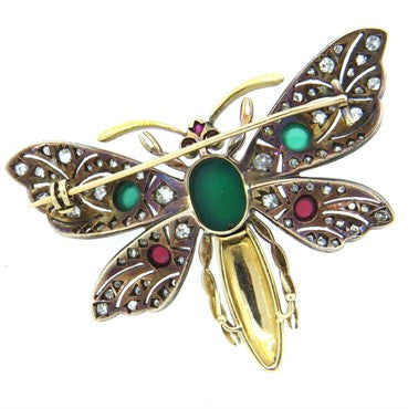 thumbnail image of Chrysoprase Tourmaline Diamond Silver 18k Gold Butterfly Brooch