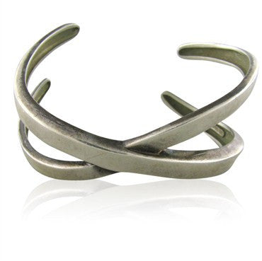 image of Tiffany & Co. Paloma Picasso Sterling Silver Criss Cross Cuff Bracelet