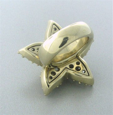 thumbnail image of Pomellato Sirene 18K Gold Moonstone White Sapphire Starfish Large Ring
