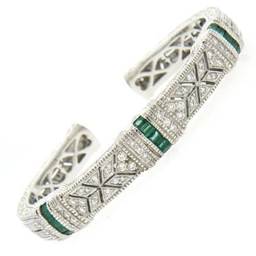 thumbnail image of Judith Ripka Emerald Diamond 18k Gold Cuff Bracelet