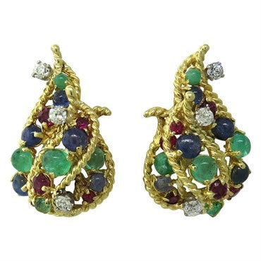 image of 1960s Diamond Ruby Emerald Sapphire Cabochon Gold Earrings