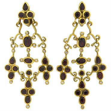 thumbnail image of H. Stern Garnet Diamond 18K Gold Dangle Earrings