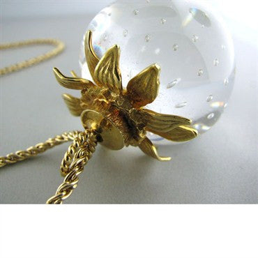 thumbnail image of Steuben Glass 18k And 14k Gold Strawberry Necklace