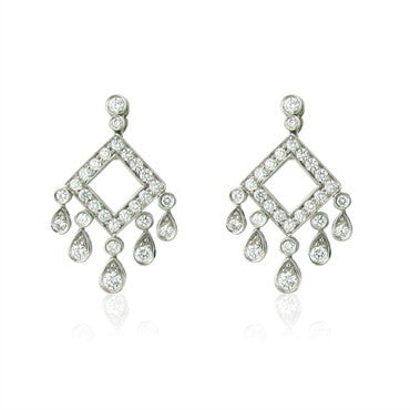 image of Tiffany & Co Legacy Collection Open Square Drop Earrings