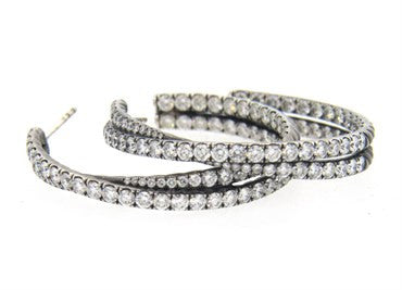 thumbnail image of David Yurman 5.20 Carat Diamond 18k Gold Crossover Hoop Earrings