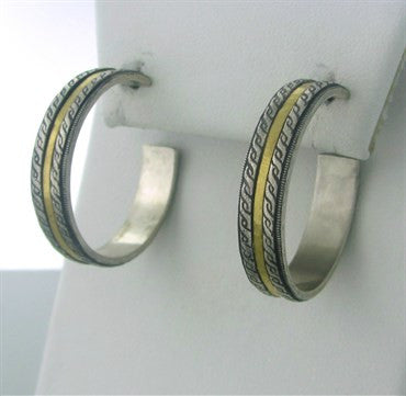 thumbnail image of New Gurhan 24K Gold Sterling Silver Hoop Earrings