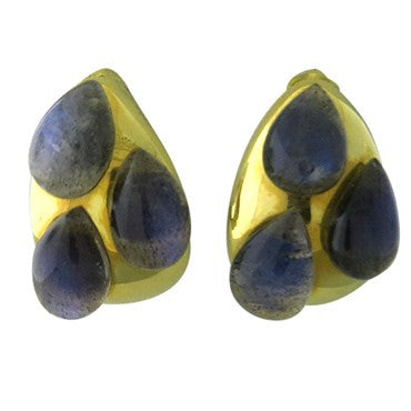 image of New Pomellato 18k Gold Labradorite Teardrop Earrings