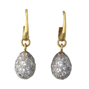 image of New Pomellato Tabou 18k Gold Silver White Topaz Earrings