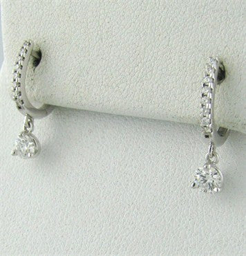 image of Hearts On Fire Three Prong Diamond Leverback 0.59ct Diamond Earrings