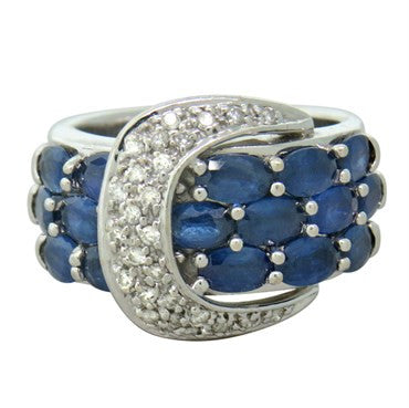 thumbnail image of Sonia B. 14K White Gold Sapphire Diamond Buckle Ring