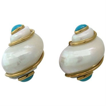 thumbnail image of Seaman Schepps Gold Turquoise Turbo Shell Earrings