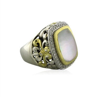 image of Charles Krypell 18K Gold Sterling Silver Diamond Mother Of Pearl Ring