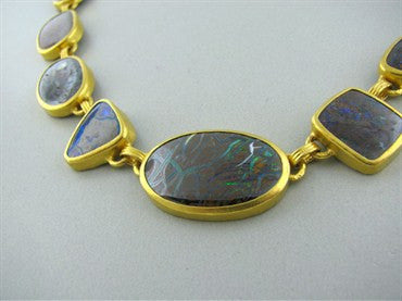 thumbnail image of New Gurhan Quilpie 24K Gold Boulder Opal Necklace