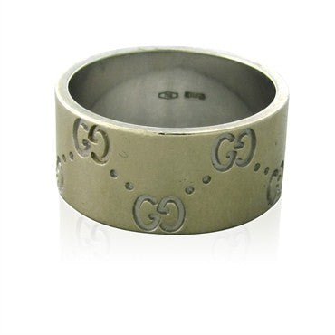 thumbnail image of Estate Gucci 18K White Gold Wide Band Ring
