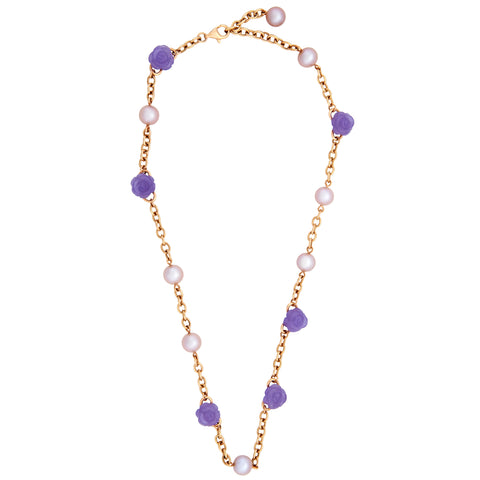 image of Mimi Milano Gold Lavender Jade Pearl Necklace