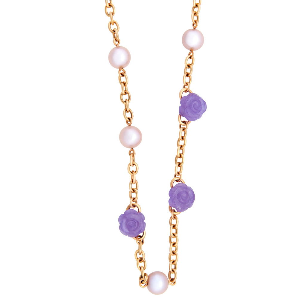 thumbnail image of Mimi Milano Gold Lavender Jade Pearl Necklace
