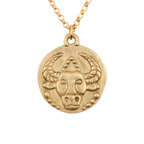 image of Susan Highsmith 18k Gold Taurus Zodiac Pendant Necklace