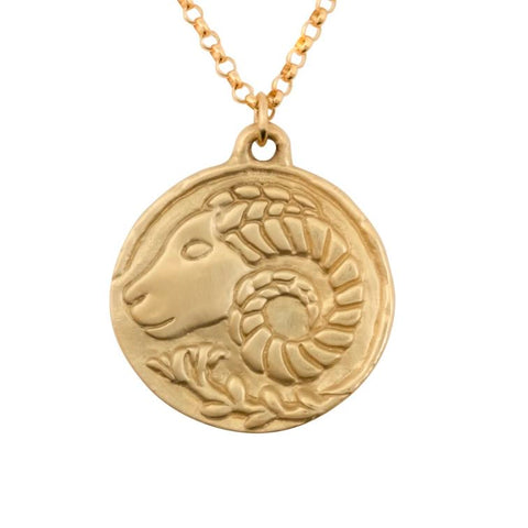 image of Susan Highsmith 18k Gold Aries Zodiac Pendant Necklace