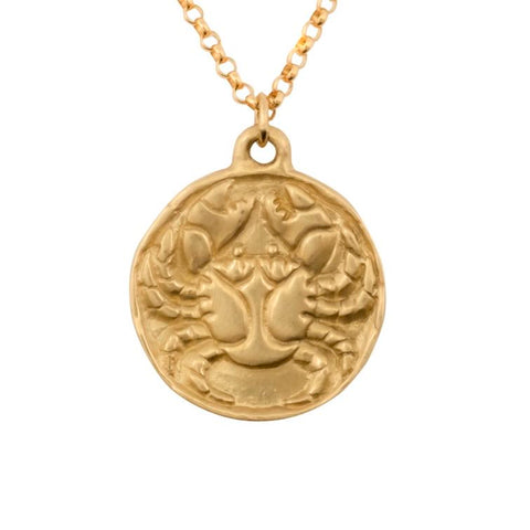 image of Susan Highsmith 18k Gold Cancer Zodiac Pendant Necklace