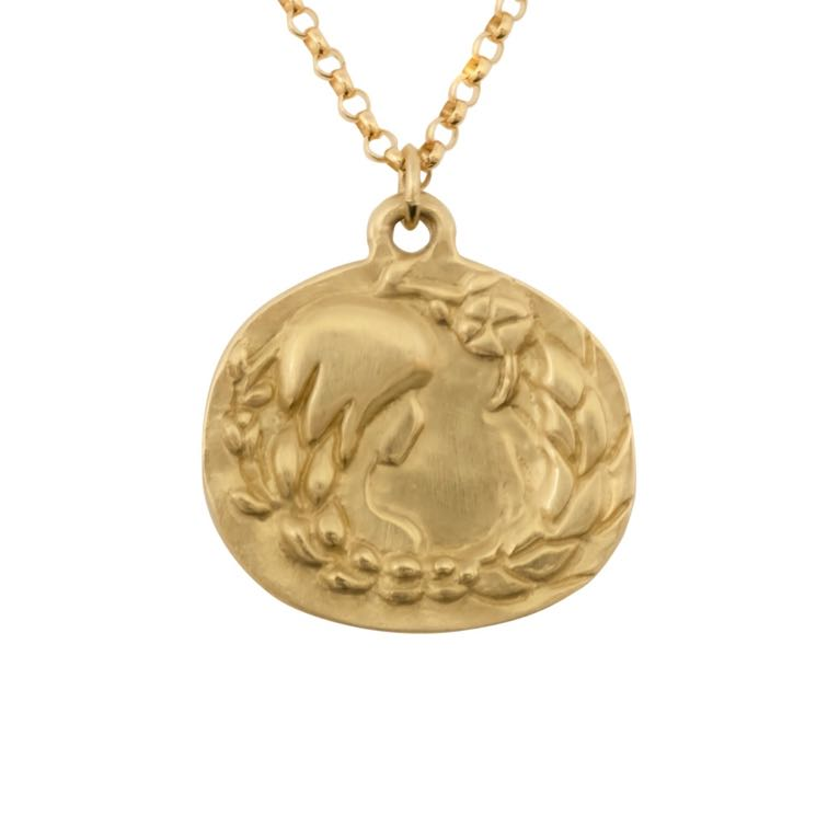 thumbnail image of Susan Highsmith 18k Gold Virgo Zodiac Pendant Necklace