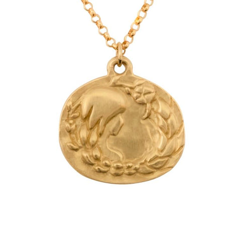 image of Susan Highsmith 18k Gold Virgo Zodiac Pendant Necklace