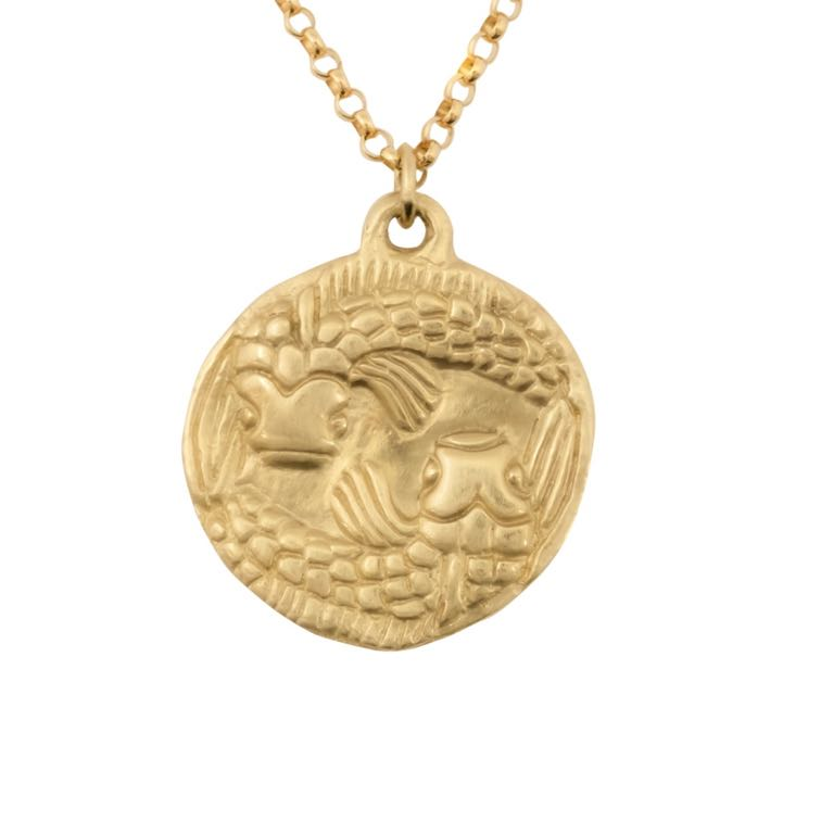 thumbnail image of Susan Highsmith 18k Gold Pisces Zodiac Pendant Necklace