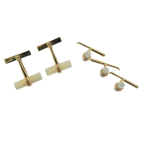 image of Tiffany & Co Mother of Pearl Gold Cufflink Stud Set