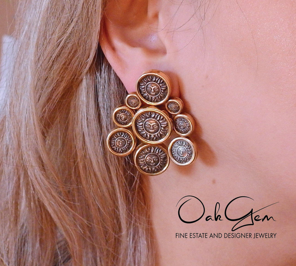 thumbnail image of Marina B Sun Coin Gold Earrings