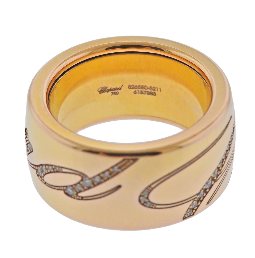 thumbnail image of New Chopard Chopardissimo 18k Rose Gold Rotating Band Ring 826580-5211
