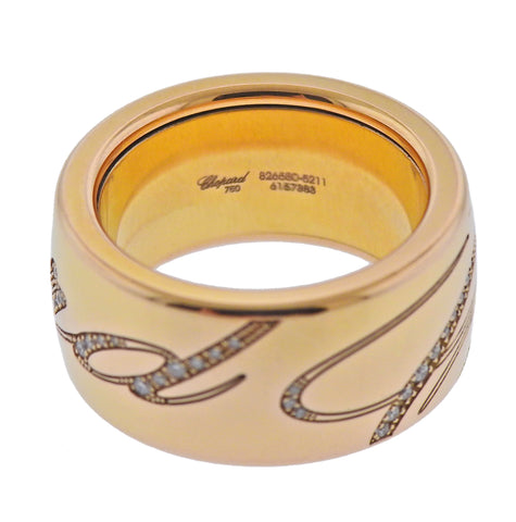 image of New Chopard Chopardissimo 18k Rose Gold Rotating Band Ring 826580-5211