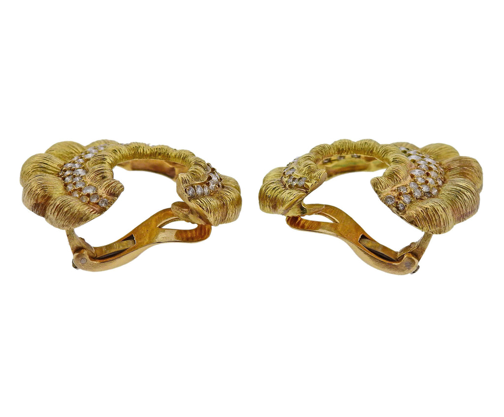 thumbnail image of 1980s Vintage Diamond Gold Earrings